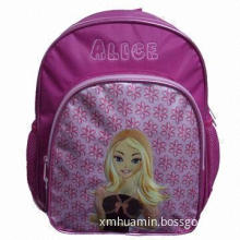 School Backpack with Embroidery and Puff Printing, Made of 420D/PVC